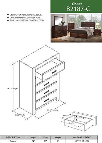 Kings Brand Furniture Aurora 6 Piece Walnut Wood King Size Bedroom Set Bed Dresser Mirror Chest 2 Nightstands 0 3