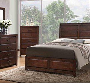 Kings Brand Furniture Aurora 6 Piece Walnut Wood King Size Bedroom Set Bed Dresser Mirror Chest 2 Nightstands 0 300x276