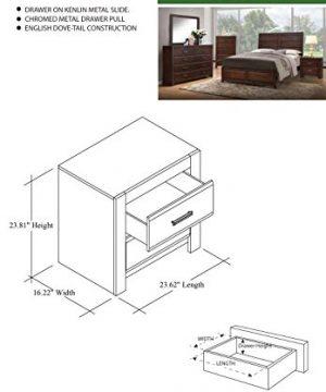 Kings Brand Furniture Aurora 6 Piece Walnut Wood King Size Bedroom Set Bed Dresser Mirror Chest 2 Nightstands 0 4 300x360