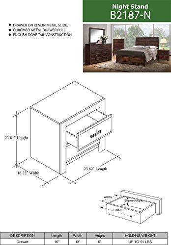 Kings Brand Furniture Aurora 6 Piece Walnut Wood King Size Bedroom Set Bed Dresser Mirror Chest 2 Nightstands 0 4