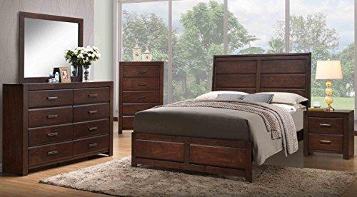 Kings Brand Furniture Aurora 6 Piece Walnut Wood King Size Bedroom Set Bed Dresser Mirror Chest 2 Nightstands 0