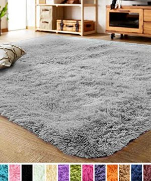 LOCHAS Ultra Soft Indoor Modern Area Rugs Fluffy Living Room Carpets For Children Bedroom Home Decor Nursery Rug 2x3 Feet Gray 0 300x360