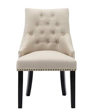 LSSBOUGHT Set Of 2 Fabric Dining Chairs Leisure Padded Chairs With Black Solid Wooden LegsNailed TrimBeige 0 1 300x360