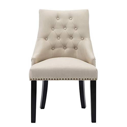 LSSBOUGHT Set Of 2 Fabric Dining Chairs Leisure Padded Chairs With Black Solid Wooden LegsNailed TrimBeige 0 1