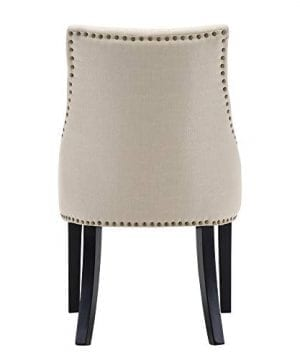 LSSBOUGHT Set Of 2 Fabric Dining Chairs Leisure Padded Chairs With Black Solid Wooden LegsNailed TrimBeige 0 3 300x360