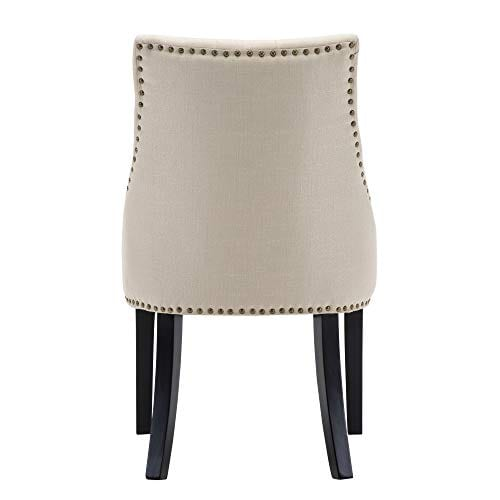 LSSBOUGHT Set Of 2 Fabric Dining Chairs Leisure Padded Chairs With Black Solid Wooden LegsNailed TrimBeige 0 3