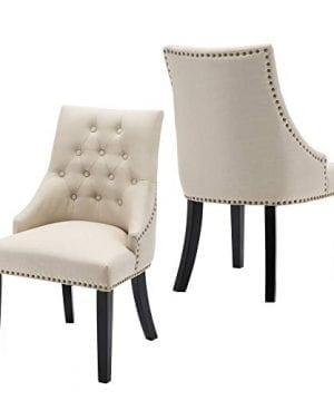 LSSBOUGHT Set Of 2 Fabric Dining Chairs Leisure Padded Chairs With Black Solid Wooden LegsNailed TrimBeige 0 300x360