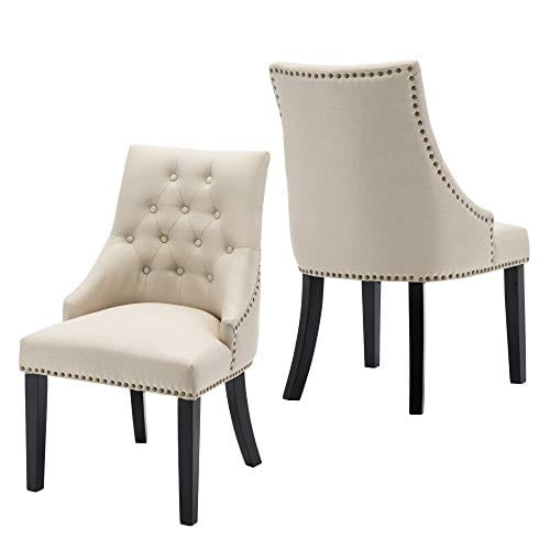 LSSBOUGHT Set Of 2 Fabric Dining Chairs Leisure Padded Chairs With Black Solid Wooden LegsNailed TrimBeige 0