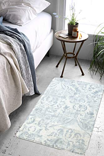 Lahome Damask Area Rug 2 X 3 Non Slip Area Rug Small Accent Distressed Throw Rugs Floor Carpet For Door Mat Entryway Bedrooms Laundry Room Decor 2 X 3 Gray 0 1