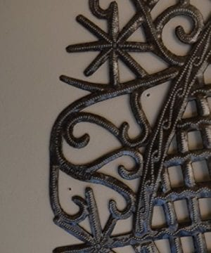 Large Metal Heart Decorative Art Symbol Erzulie Veve Handmade Recycled Metal Wall Art 23 X 225 Inches 0 1 300x360