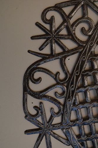 Large Metal Heart Decorative Art Symbol Erzulie Veve Handmade Recycled Metal Wall Art 23 X 225 Inches 0 1