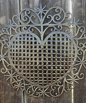 Large Metal Heart Decorative Art Symbol Erzulie Veve Handmade Recycled Metal Wall Art 23 X 225 Inches 0 2 300x360