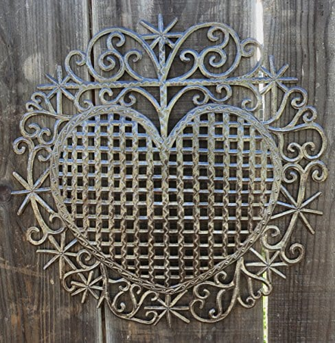 Large Metal Heart Decorative Art Symbol Erzulie Veve Handmade Recycled Metal Wall Art 23 X 225 Inches 0 2