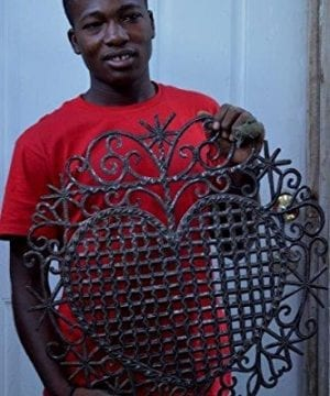Large Metal Heart Decorative Art Symbol Erzulie Veve Handmade Recycled Metal Wall Art 23 X 225 Inches 0 3 300x360