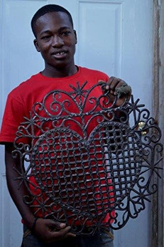 Large Metal Heart Decorative Art Symbol Erzulie Veve Handmade Recycled Metal Wall Art 23 X 225 Inches 0 3
