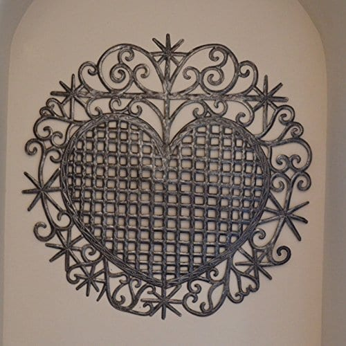 Large Metal Heart Decorative Art Symbol Erzulie Veve Handmade Recycled Metal Wall Art 23 X 225 Inches 0