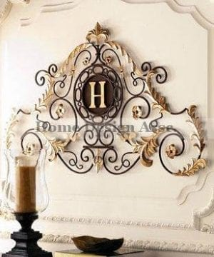 Lavish Gold Iron Scroll Monogram Initial Letter Wall Plaque Overdoor Palace 0 300x360