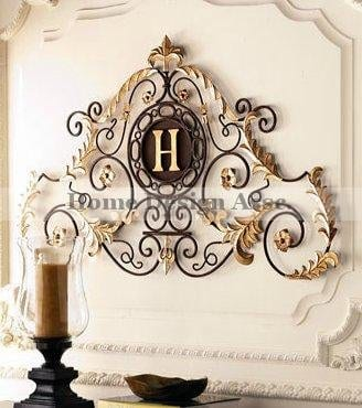 Lavish Gold Iron Scroll Monogram Initial Letter Wall Plaque Overdoor Palace 0