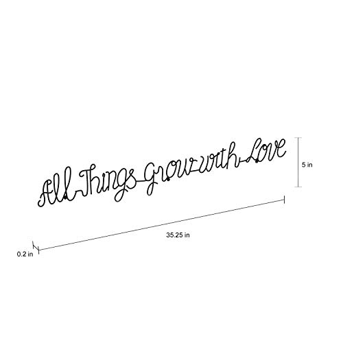 Lavish Home Metal Cutout All Things Grow With Love Cursive Sign 3D Word Art Home Accent Decor Perfect For Modern Rustic Or Vintage Farmhouse Style 0 0