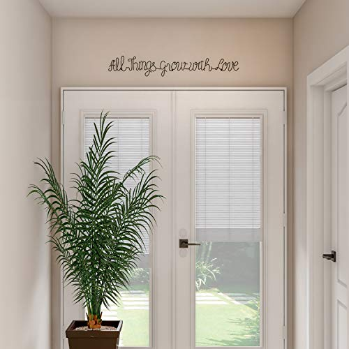 Lavish Home Metal Cutout All Things Grow With Love Cursive Sign 3D Word Art Home Accent Decor Perfect For Modern Rustic Or Vintage Farmhouse Style 0 3