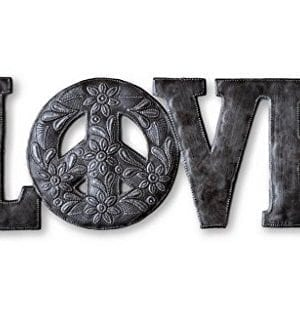 Love Peace Metal Wall Art Reclaimed Word Sign Home Decor Handmade In Haiti 20 In X 8 In 0 300x319