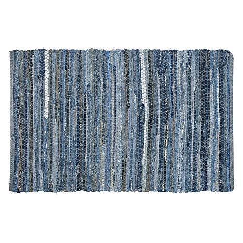 MOTINI Denim Cotton Area Rug 2 X 3 Machine Washable Reversible Handmade From Recycled Fabric Blue Shabby Rag Throw Rug For Kitchen Laundry Room Bathroom Bedroom Entryway 0 0