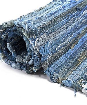 MOTINI Denim Cotton Area Rug 2 X 3 Machine Washable Reversible Handmade From Recycled Fabric Blue Shabby Rag Throw Rug For Kitchen Laundry Room Bathroom Bedroom Entryway 0 1 300x360