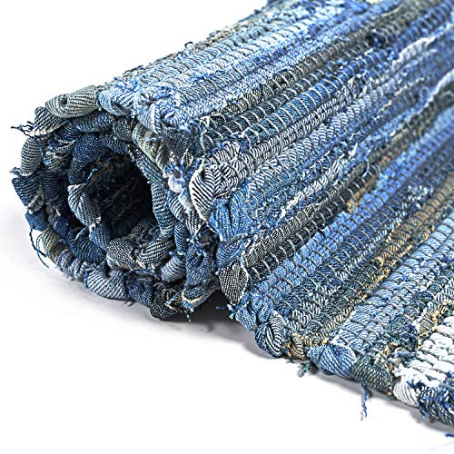 MOTINI Denim Cotton Area Rug 2 X 3 Machine Washable Reversible Handmade From Recycled Fabric Blue Shabby Rag Throw Rug For Kitchen Laundry Room Bathroom Bedroom Entryway 0 1