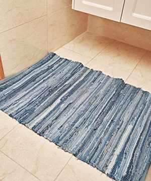 MOTINI Denim Cotton Area Rug 2 X 3 Machine Washable Reversible Handmade From Recycled Fabric Blue Shabby Rag Throw Rug For Kitchen Laundry Room Bathroom Bedroom Entryway 0 3 300x360