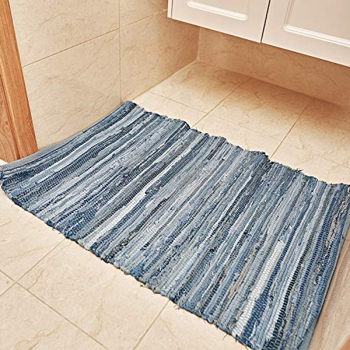 MOTINI Denim Cotton Area Rug 2 X 3 Machine Washable Reversible Handmade From Recycled Fabric Blue Shabby Rag Throw Rug For Kitchen Laundry Room Bathroom Bedroom Entryway 0 3