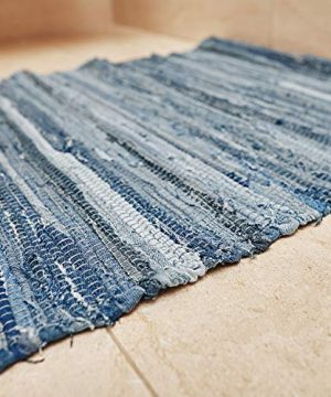 MOTINI Denim Cotton Area Rug 2 X 3 Machine Washable Reversible Handmade From Recycled Fabric Blue Shabby Rag Throw Rug For Kitchen Laundry Room Bathroom Bedroom Entryway 0 4 300x360