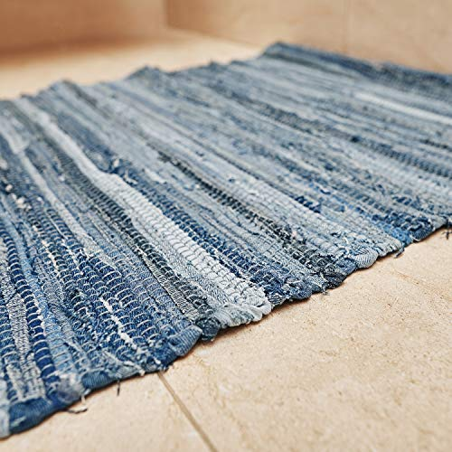 MOTINI Denim Cotton Area Rug 2 X 3 Machine Washable Reversible Handmade From Recycled Fabric Blue Shabby Rag Throw Rug For Kitchen Laundry Room Bathroom Bedroom Entryway 0 4