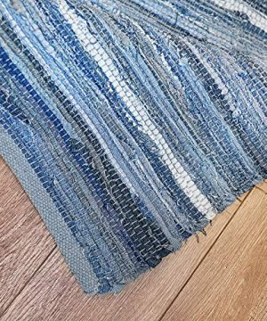 MOTINI Denim Cotton Area Rug 2 X 3 Machine Washable Reversible Handmade From Recycled Fabric Blue Shabby Rag Throw Rug For Kitchen Laundry Room Bathroom Bedroom Entryway 0 5 300x360