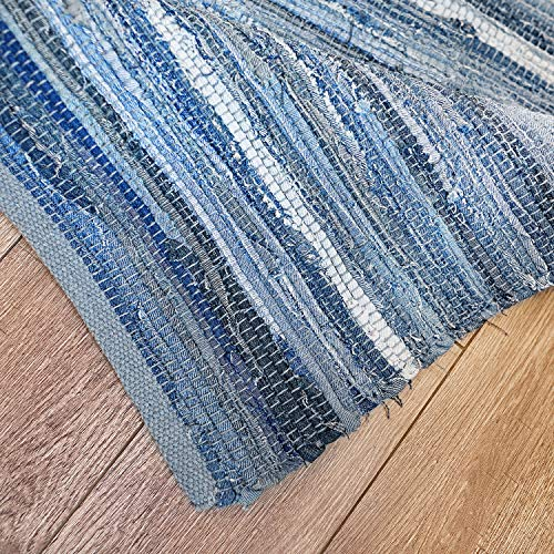 MOTINI Denim Cotton Area Rug 2 X 3 Machine Washable Reversible Handmade From Recycled Fabric Blue Shabby Rag Throw Rug For Kitchen Laundry Room Bathroom Bedroom Entryway 0 5