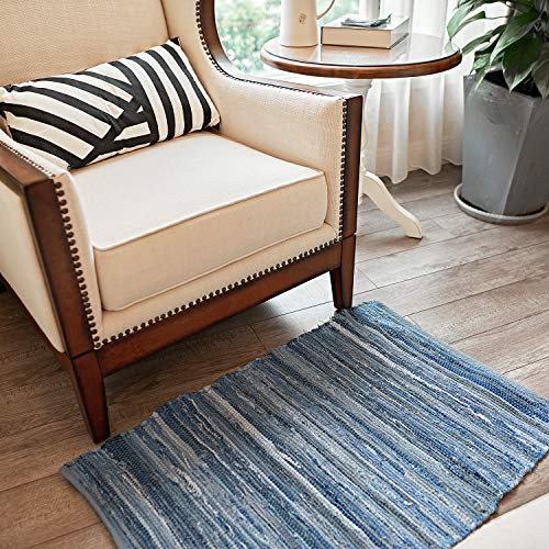 MOTINI Denim Cotton Area Rug 2 X 3 Machine Washable Reversible Handmade From Recycled Fabric Blue Shabby Rag Throw Rug For Kitchen Laundry Room Bathroom Bedroom Entryway 0