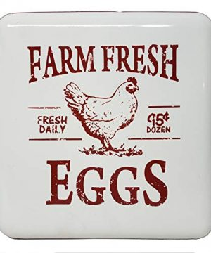 MR Distinctive Designs Vintage Farmhouse Kitchen Decor Metal Farm Fresh Eggs Sign 12 RedWhite 0 300x360