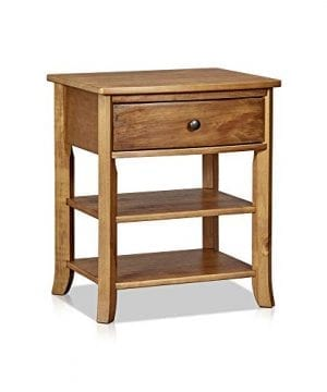 MUSEHOMEINC Rustic Wood 3 Tier Nightstand With Storage Shelf And Drawer For Bedroom Or Living RoomRound Metal KnobsHeritage Collection FurnitureEnd TableSide Table Teak Finish 0 300x360