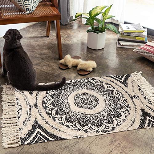 Mandala Cotton Rug 2 X 3 Rectangle Woven Tassel Throw Black Area Rug Fringe Print Tufted Chic Doormat Machine Washable Floor Carpet Bohemia Farmhouse Runner Rugs For Bathroom Bedroom Living Room 0 0