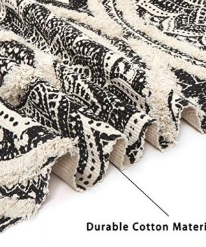 Mandala Cotton Rug 2 X 3 Rectangle Woven Tassel Throw Black Area Rug Fringe Print Tufted Chic Doormat Machine Washable Floor Carpet Bohemia Farmhouse Runner Rugs For Bathroom Bedroom Living Room 0 1 300x360