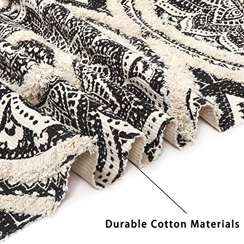 Mandala Cotton Rug 2 X 3 Rectangle Woven Tassel Throw Black Area Rug Fringe Print Tufted Chic Doormat Machine Washable Floor Carpet Bohemia Farmhouse Runner Rugs For Bathroom Bedroom Living Room 0 1