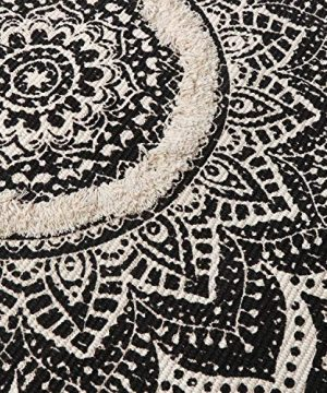 Mandala Cotton Rug 2 X 3 Rectangle Woven Tassel Throw Black Area Rug Fringe Print Tufted Chic Doormat Machine Washable Floor Carpet Bohemia Farmhouse Runner Rugs For Bathroom Bedroom Living Room 0 2 300x360
