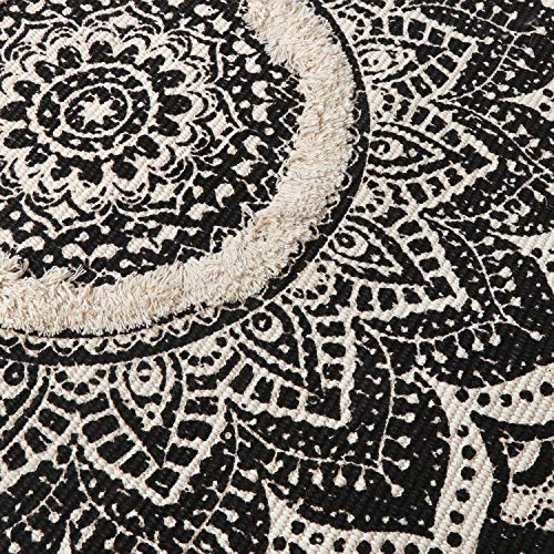 Mandala Cotton Rug 2 X 3 Rectangle Woven Tassel Throw Black Area Rug Fringe Print Tufted Chic Doormat Machine Washable Floor Carpet Bohemia Farmhouse Runner Rugs For Bathroom Bedroom Living Room 0 2