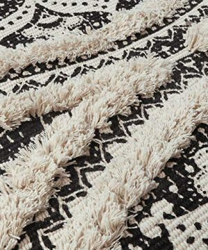 Mandala Cotton Rug 2 X 3 Rectangle Woven Tassel Throw Black Area Rug Fringe Print Tufted Chic Doormat Machine Washable Floor Carpet Bohemia Farmhouse Runner Rugs For Bathroom Bedroom Living Room 0 3 300x360