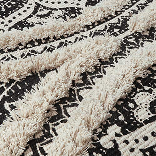 Mandala Cotton Rug 2 X 3 Rectangle Woven Tassel Throw Black Area Rug Fringe Print Tufted Chic Doormat Machine Washable Floor Carpet Bohemia Farmhouse Runner Rugs For Bathroom Bedroom Living Room 0 3