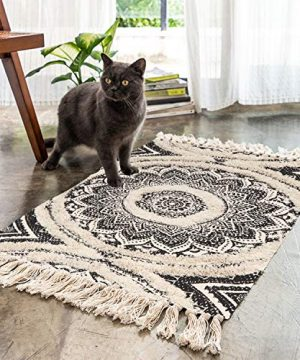 Mandala Cotton Rug 2 X 3 Rectangle Woven Tassel Throw Black Area Rug Fringe Print Tufted Chic Doormat Machine Washable Floor Carpet Bohemia Farmhouse Runner Rugs For Bathroom Bedroom Living Room 0 300x360