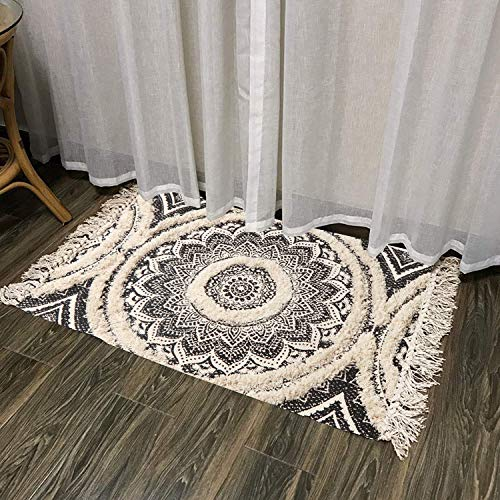 Mandala Cotton Rug 2 X 3 Rectangle Woven Tassel Throw Black Area Rug Fringe Print Tufted Chic Doormat Machine Washable Floor Carpet Bohemia Farmhouse Runner Rugs For Bathroom Bedroom Living Room 0 5