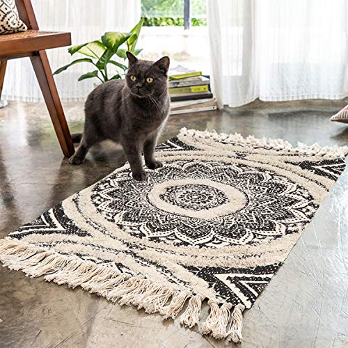Mandala Cotton Rug 2 X 3 Rectangle Woven Tassel Throw Black Area Rug Fringe Print Tufted Chic Doormat Machine Washable Floor Carpet Bohemia Farmhouse Runner Rugs For Bathroom Bedroom Living Room 0
