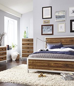 Manitoba E King Bed Nightstand Dresser Mirror White Rustic Plank Wood 0 300x346