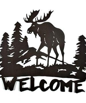 Mayrich Rustic Brown Moose Silhouette Welcome Sign Decorative Cut Out Metal Wall Art Home Dcor Plaque For Cabin Camp Lakehouse Or Mountain Chalet 0 300x360