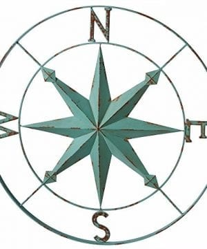 Midwest CBK Nautical Aqua Blue Wall Rose Compass 30 In 0 300x360
